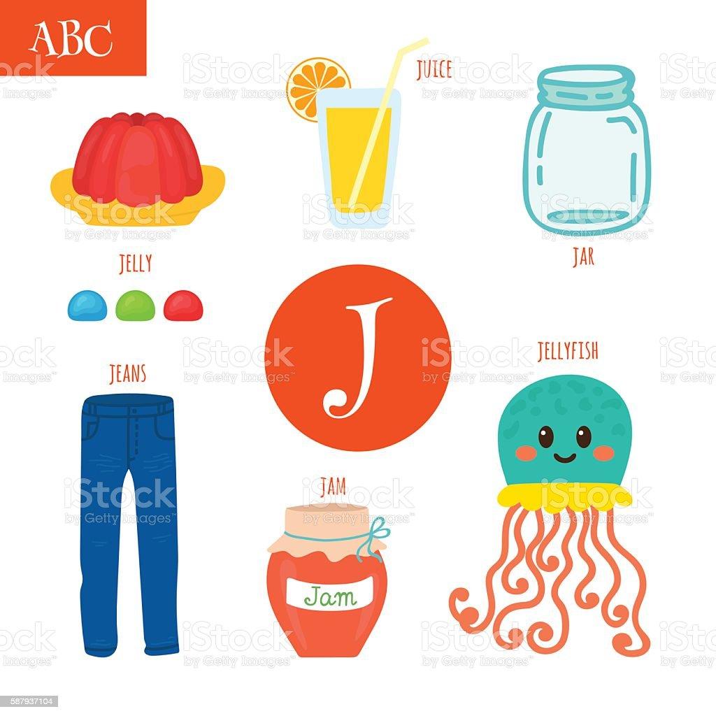 Letter J Cartoon Alphabet For Children Stock Illustration