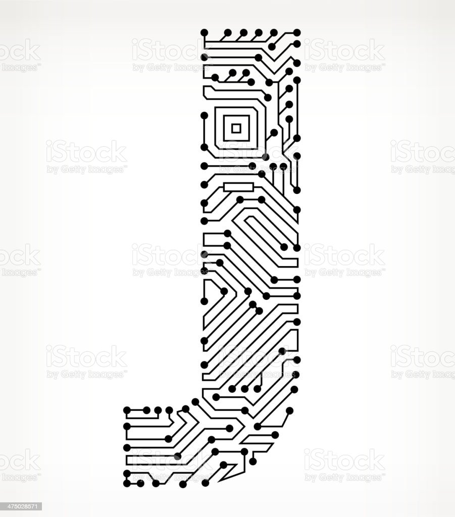 letter j circuit board on white background stock vector
