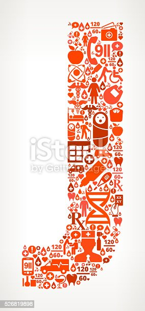 istock Letter j Healthcare and Medical Red Icon Pattern 526819898