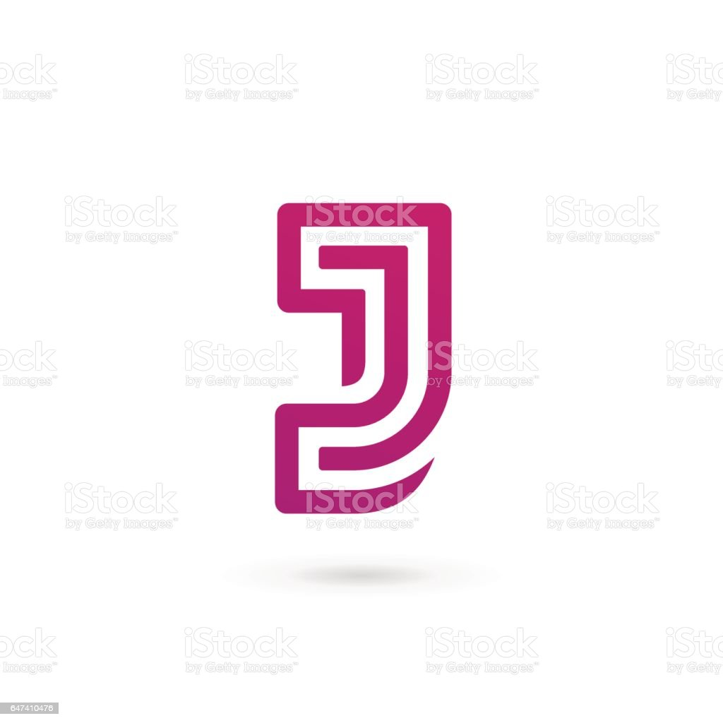 Letter J icon vector art illustration