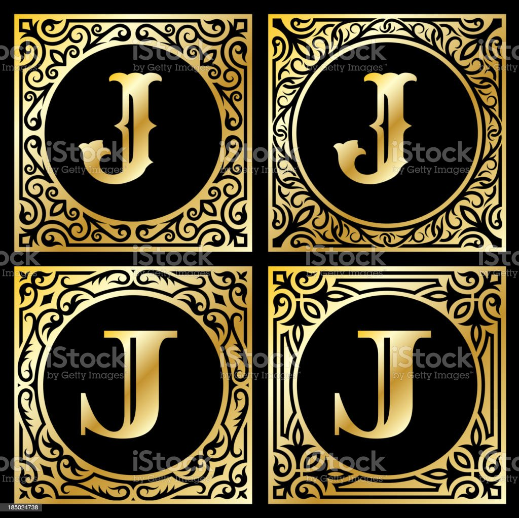 Letter J in Golden Frame royalty-free stock vector art