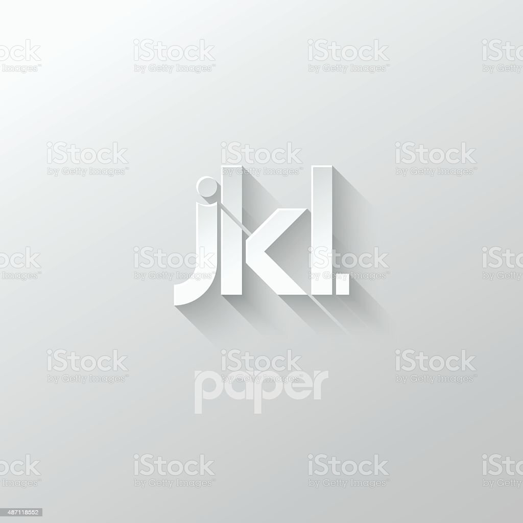 letter J K L logo alphabet icon paper set background vector art illustration