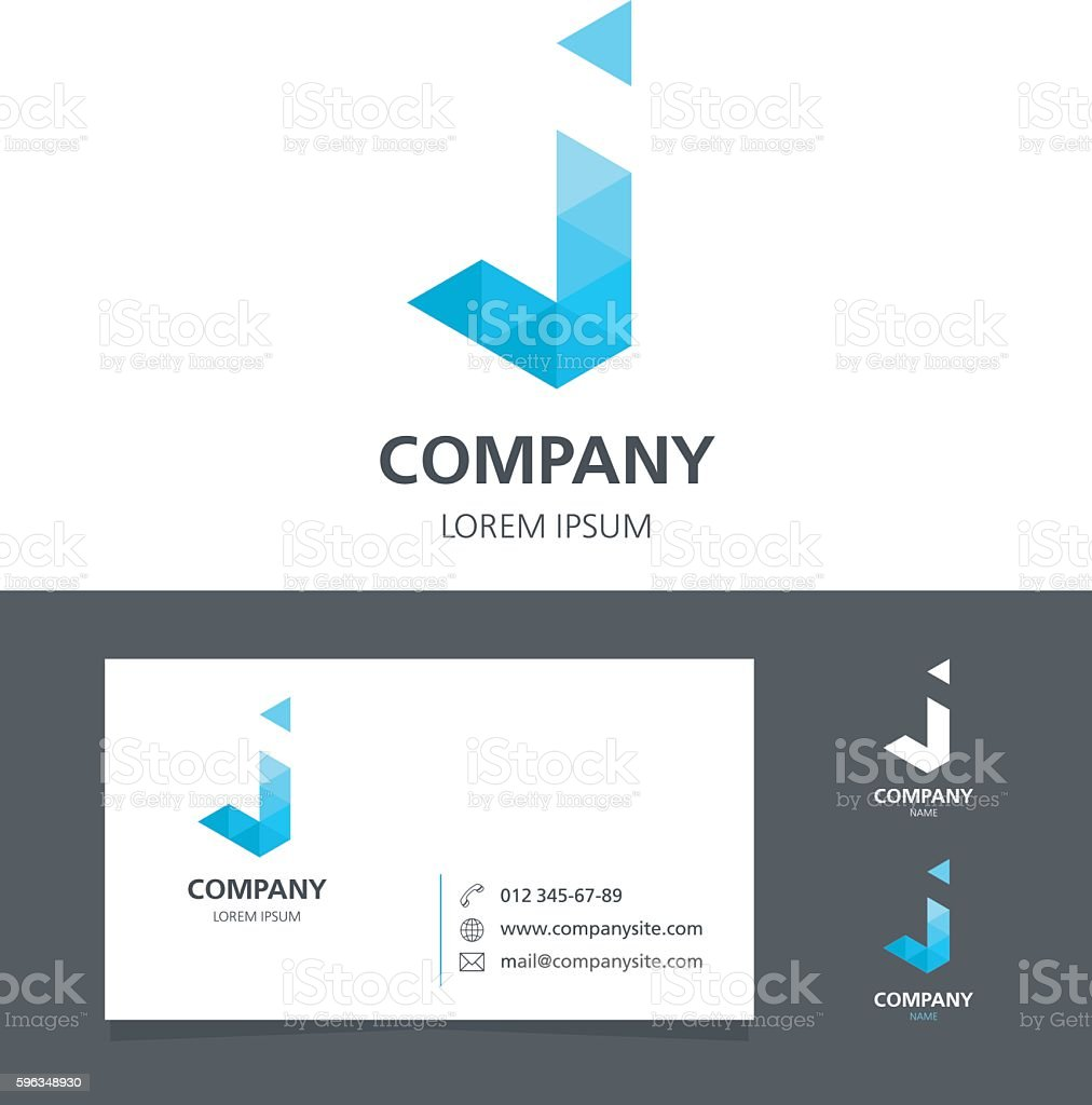 Letter J - Logo Design Element with Business Card - illustration royalty-free letter j logo design element with business card illustration stock vector art & more images of abstract
