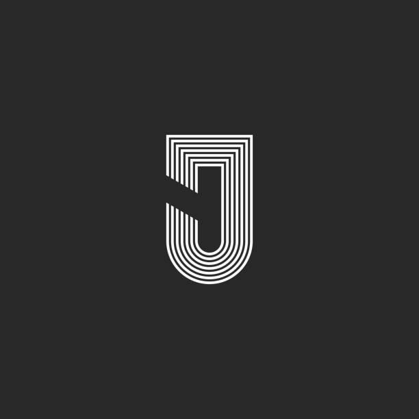 Letter J logotype monogram, black and white thin parallel lines art stylish logo design Letter J logotype monogram, black and white thin parallel lines art stylish logo design letter j stock illustrations