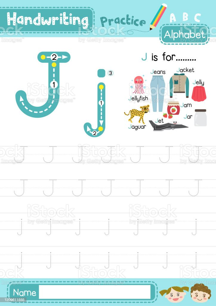 Letter J Uppercase And Lowercase Cute Children Colorful Abc Alphabet Trace  Practice Worksheet For Kids Learning English Vocabulary And Handwriting  Layout In A4 Vector Illustration Stock Illustration - Download Image Now -  IStock