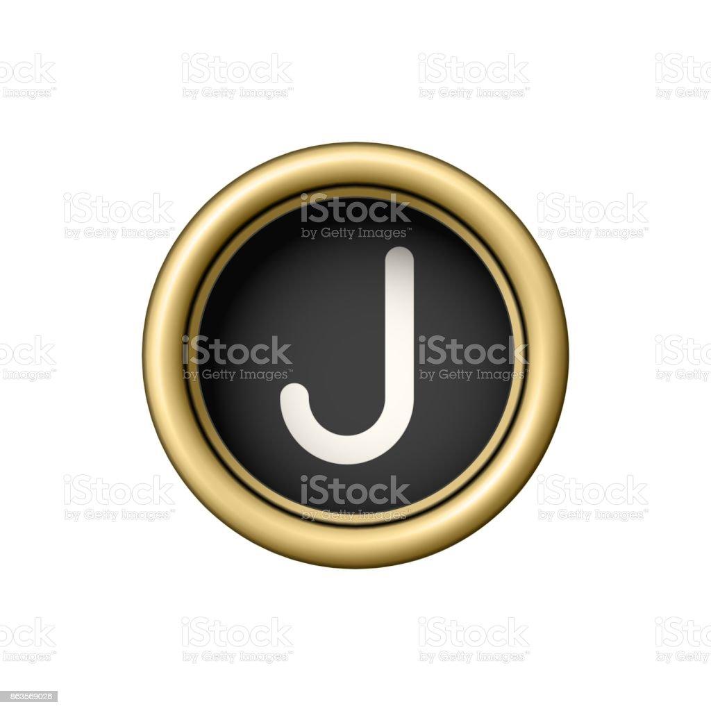 Letter J. Vintage golden typewriter button vector art illustration