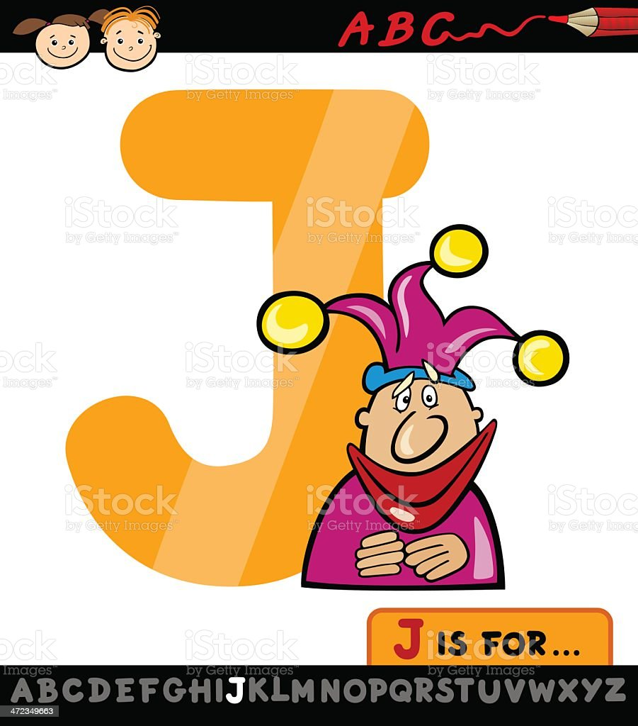 letter j with jester cartoon illustration royalty-free stock vector art