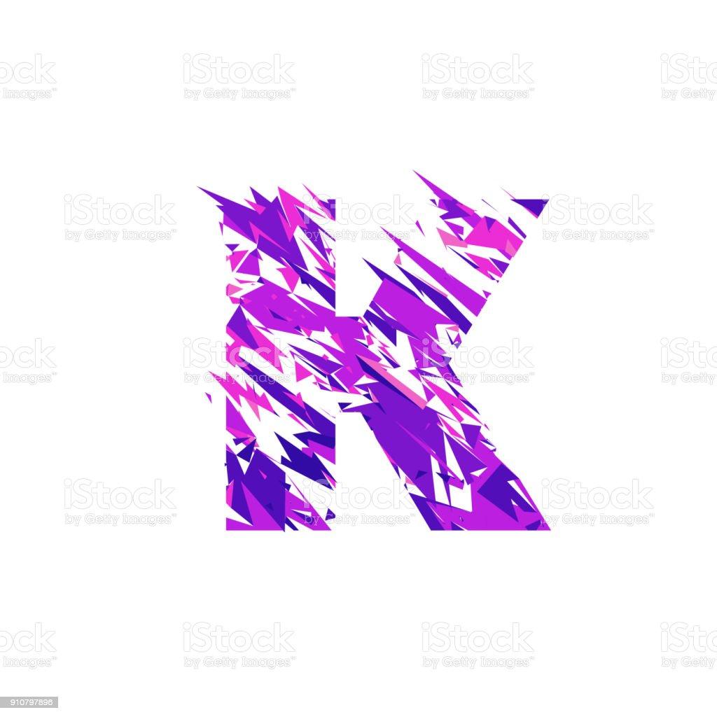 Letter K, broken into a splinters. vector art illustration