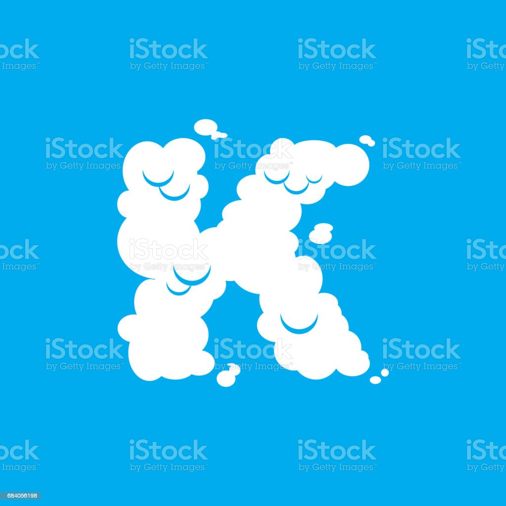 Letter K Cloud Font Symbol White Alphabet Sign On Blue Sky Royalty Free
