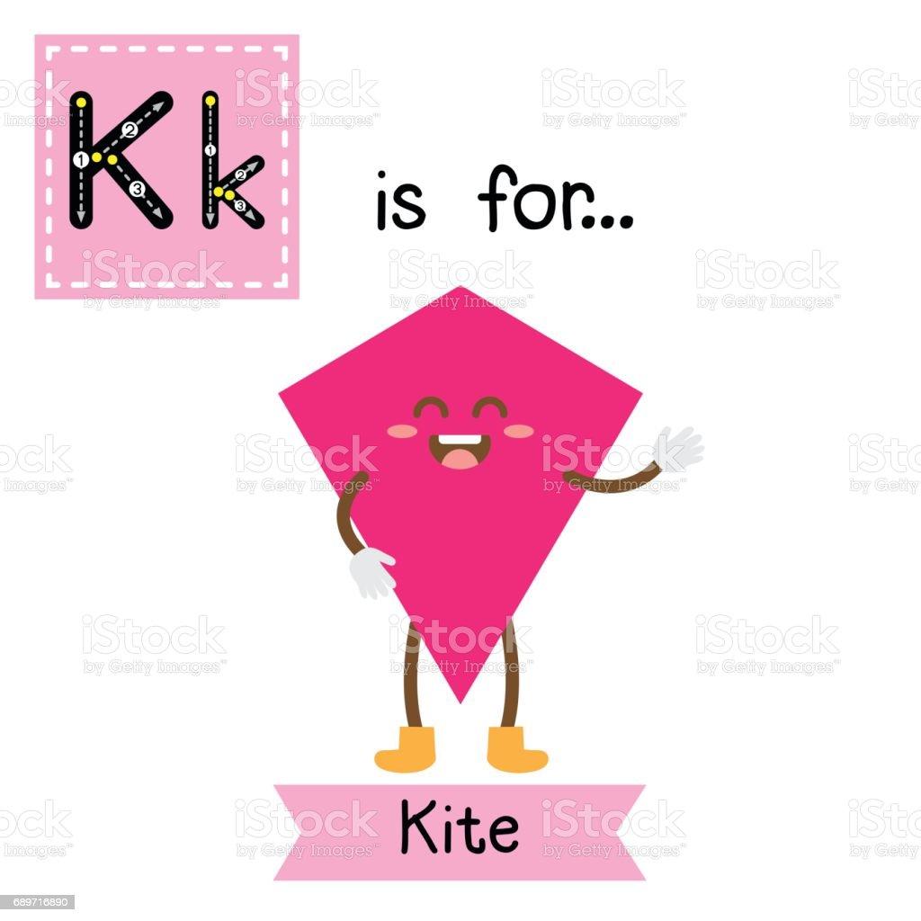 Letter K Cute Children Colorful Geometric Shapes Alphabet Tracing ...