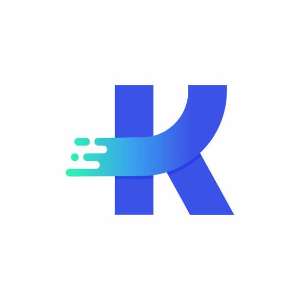 Letter K Design Vector In Blue Green Gradient vector art illustration