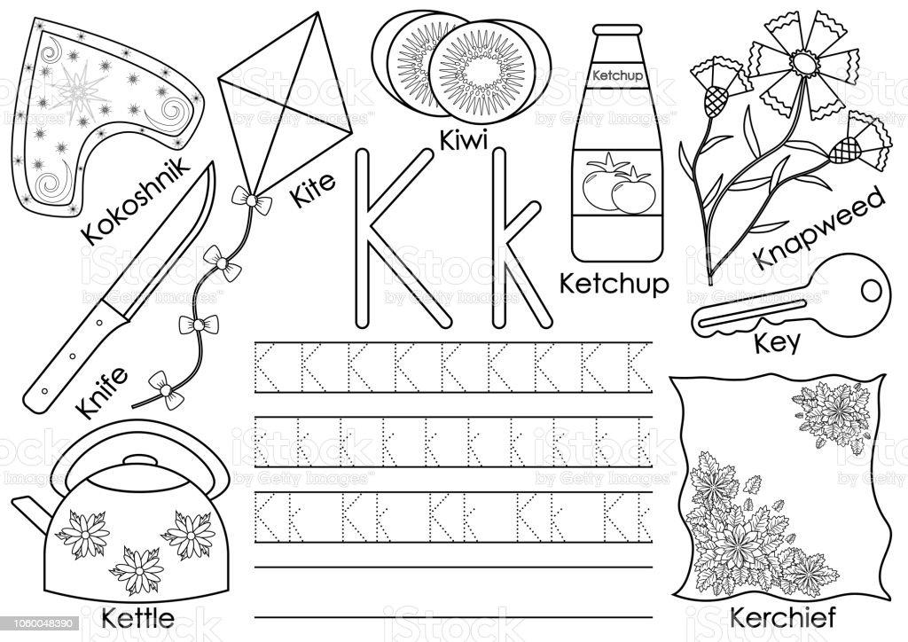 Ilustración De Alfabeto Letra K Práctica De La Escritura Y Libro