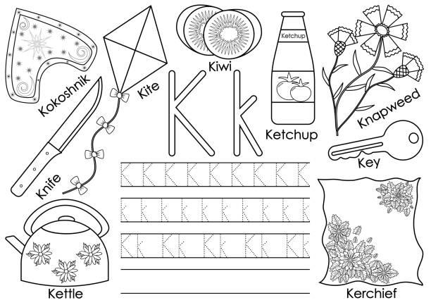 Vectores de Letra K Para Tetera Ilustración Dibujo Animado y ...