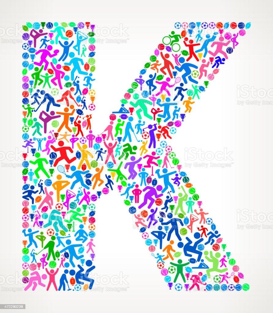 22b034a80 Letra K esportes e academia de exercícios com padrão de vetor de fundo vetor  de letra