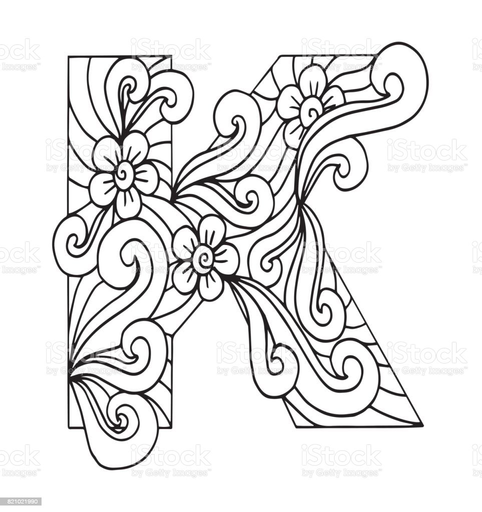 K Harfi Boyama Vektor Dekoratif Nesne Illustrasyon Bilgisayar