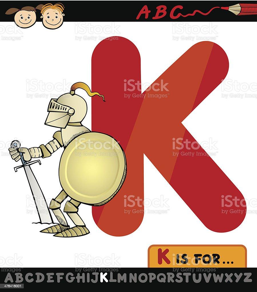 letter k for knight cartoon illustration royalty-free stock vector art