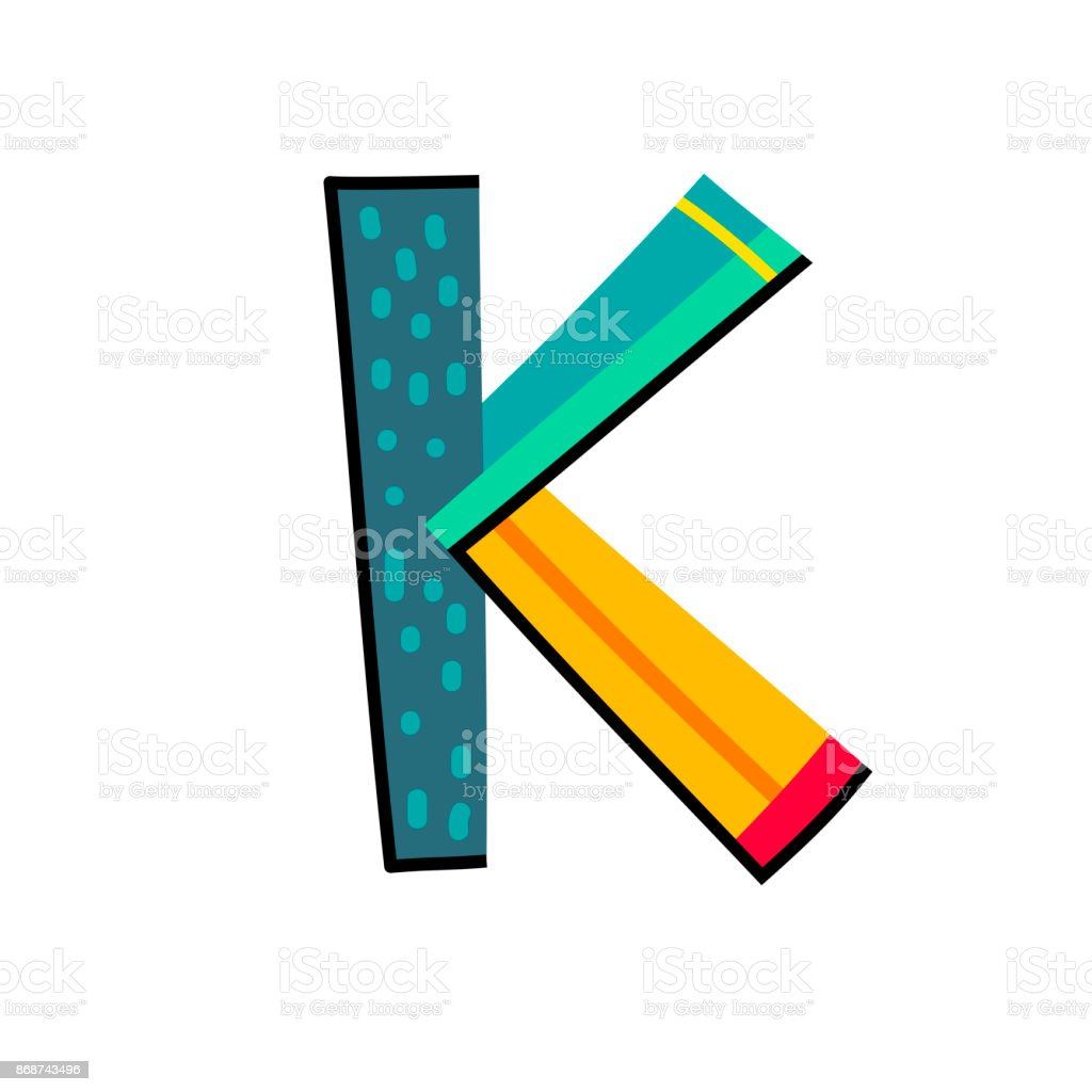 Letter K From English Alphabet Colorful Logo Template In Modern