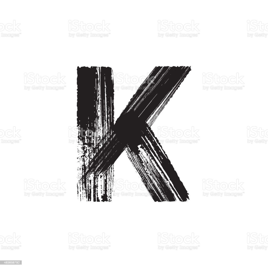 Letter K hand drawn with dry brush vector art illustration