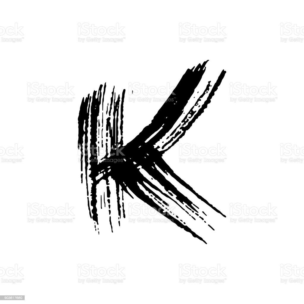 Letter K Handwritten By Dry Brush Rough Strokes Font Vector