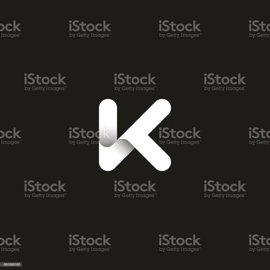 Letter K icon capital initial monogram. Overlapping bold line with shadows modern emblem. Trendy typography design element. vector art illustration