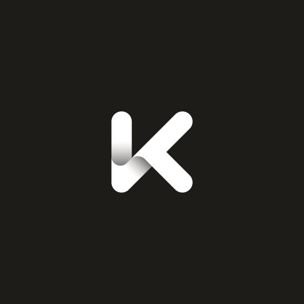 Letter K icon capital initial monogram. Overlapping bold line with shadows modern emblem. Trendy typography design element. Letter K icon capital initial monogram. Overlapping bold line with shadows modern emblem. Trendy typography design element. letter k stock illustrations