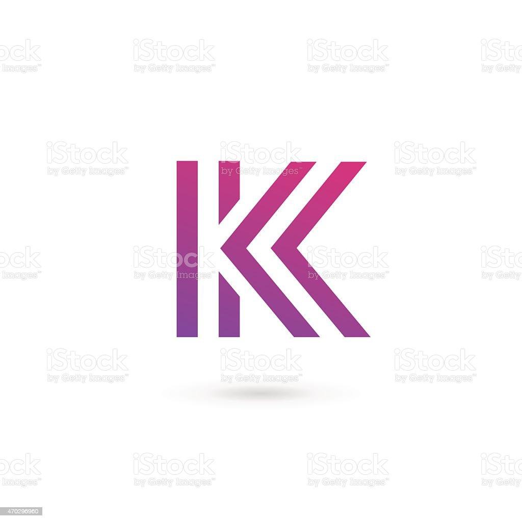 Letter K icon design in tones of purple vector art illustration