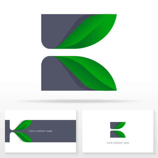 Letter K icon design vector sign.  Stock vector emblem. Letter K icon design vector sign.  Stock vector emblem with green leaves. Business card templates. k logo stock illustrations