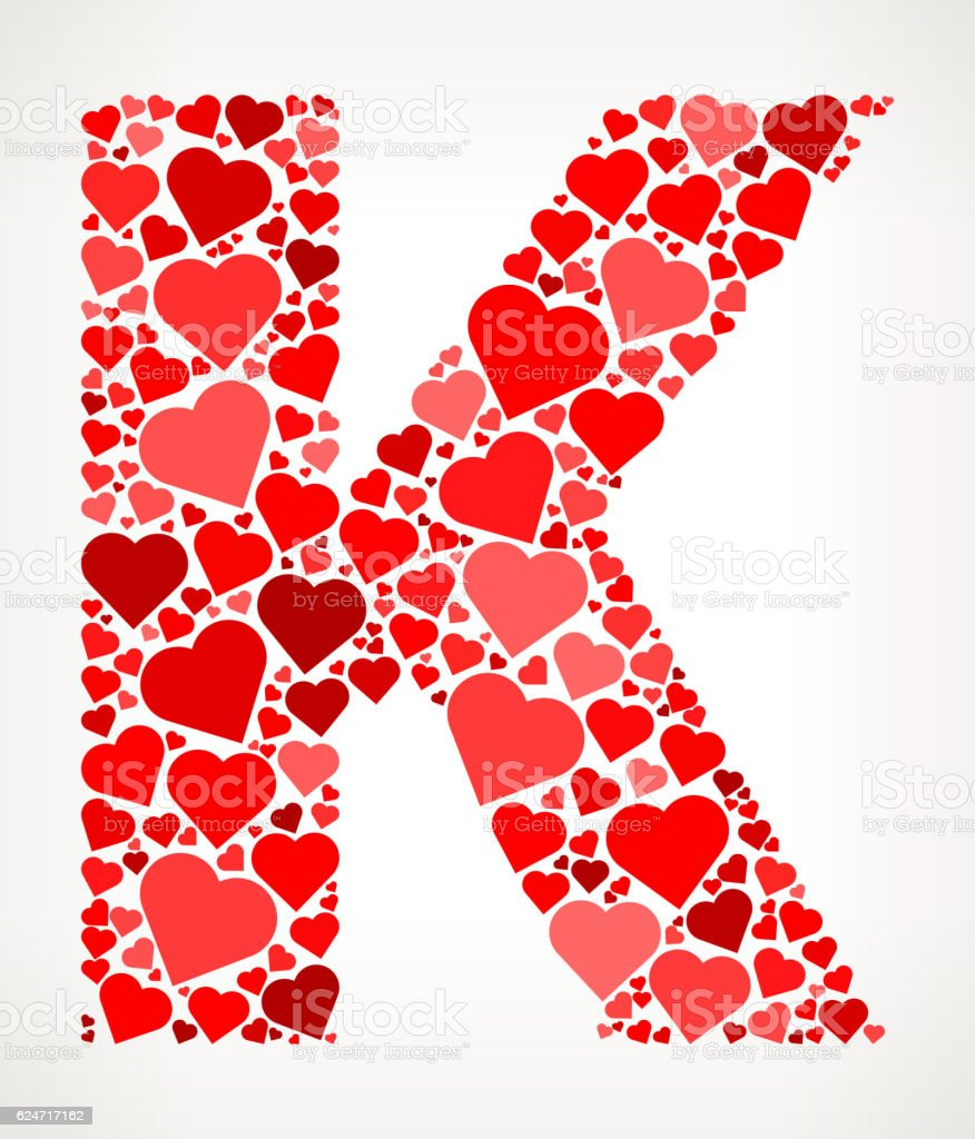 Letter K Icon With Red Hearts Love Pattern Stock Vector Art & More ...