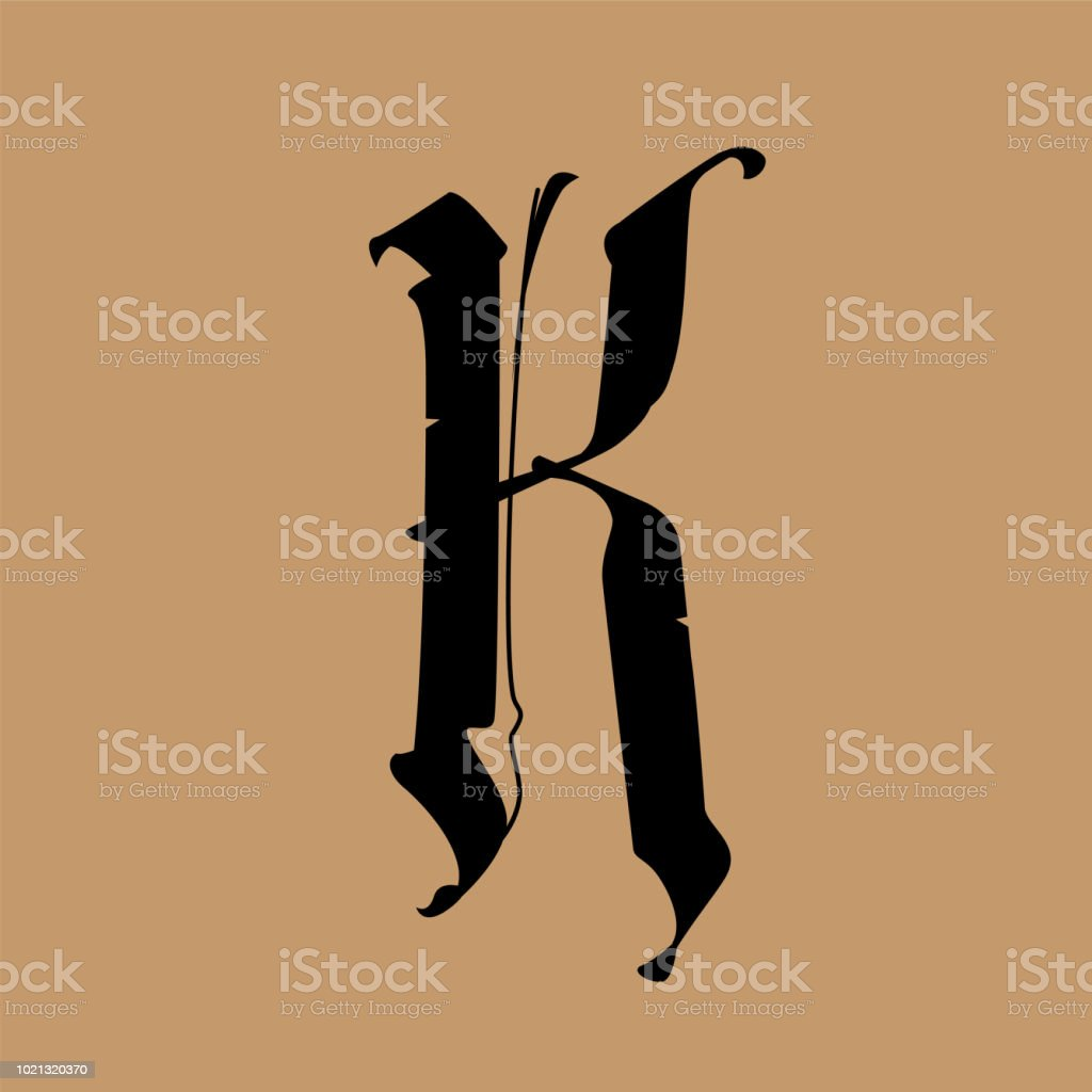 Letter K In The Gothic Style Vector Alphabet The Symbol Is Isolated