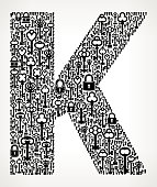Letter K Key and Lock Antique Black & White GraphicThe main object of this royalty free vector illustration is composed of key and key hole icon pattern. The key icons vary in size and form a seamless composition. The object is placed in the center of the illustration. The background is light with a slight gradient. This image is ideal for security, locksmith and conceptual use. The keys are antique and are black color.