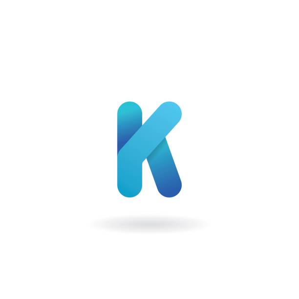 Letter K logo. Blue vector icon. Ribbon styled font. Letter K logo. Blue vector icon. Ribbon styled font k logo illustrations stock illustrations
