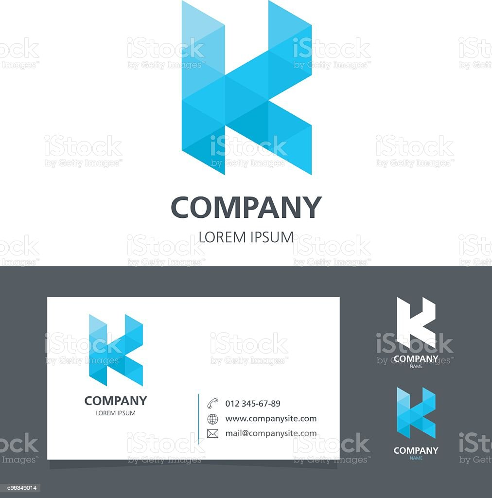Letter K - Logo Design Element with Business Card - illustration royalty-free letter k logo design element with business card illustration stock vector art & more images of abstract