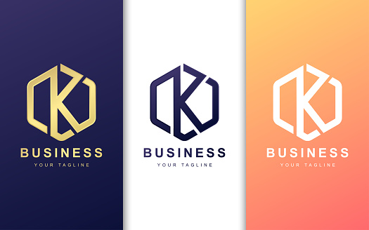 Letter K logo design template with geometric shape style