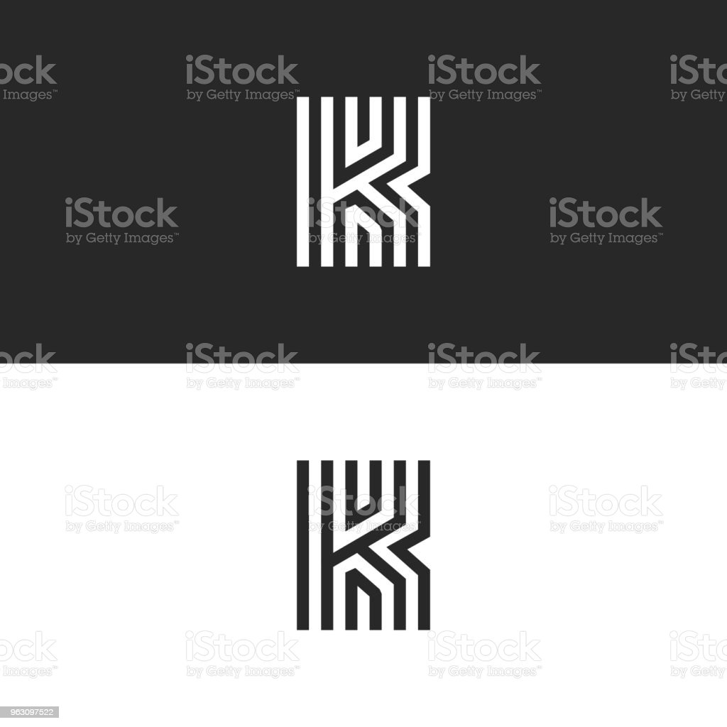 Letter K logo minimal moogram linear design. Exquisite creative blac and white thin lines initial emblem for business card identity symbol. Letter K logo minimal moogram linear design. Exquisite creative blac and white thin lines initial emblem for business card identity symbol. Business stock vector