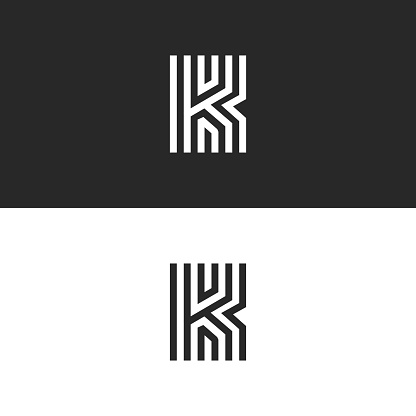 Letter K Logo Minimal Moogram Linear Design Exquisite Creative Blac And White Thin Lines Initial Emblem For Business Card Identity Symbol Stock Illustration - Download Image Now