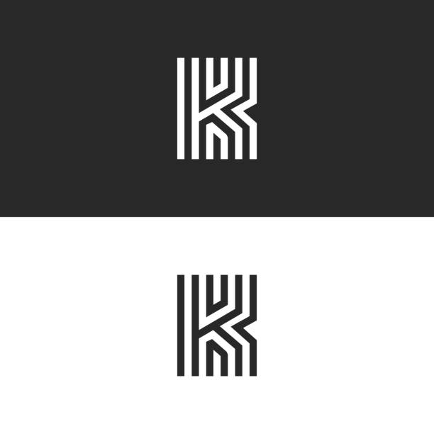 Letter K logo minimal moogram linear design. Exquisite creative blac and white thin lines initial emblem for business card identity symbol. Letter K logo minimal moogram linear design. Exquisite creative blac and white thin lines initial emblem for business card identity symbol. k logo illustrations stock illustrations