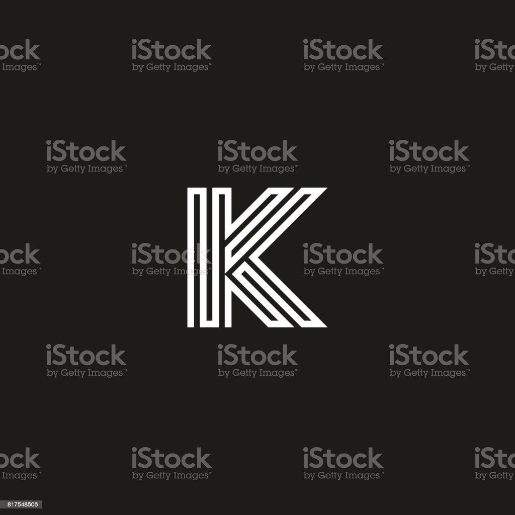 Letter K logo monogram. Initial logotype typography mockup. Thin line maze shape design element template. vector art illustration
