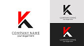 istock Letter K logo or monogram. blank for business card. For your business. Vector sign. 1211262613