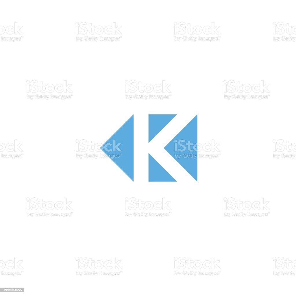 Letter K logo triangle geometric shape, minimal style design element mockup, branding mark template, direction arrows icon vector art illustration