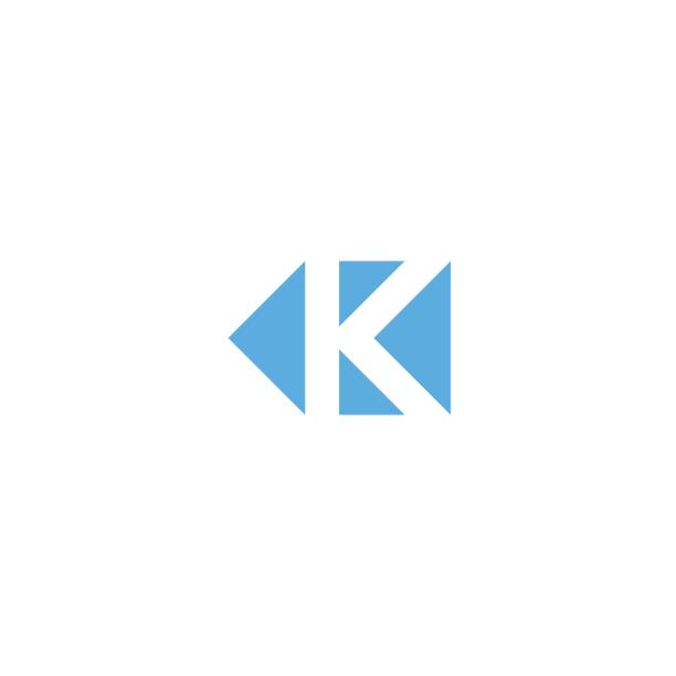 Letter K logo triangle geometric shape, minimal style design element mockup, branding mark template, direction arrows icon Letter K logo triangle geometric shape, minimal style design element mockup, branding mark template, direction arrows icon k logo illustrations stock illustrations