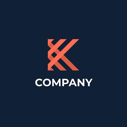 Letter K logotype template. Unique modern creative elegant emblem. Vector icon.