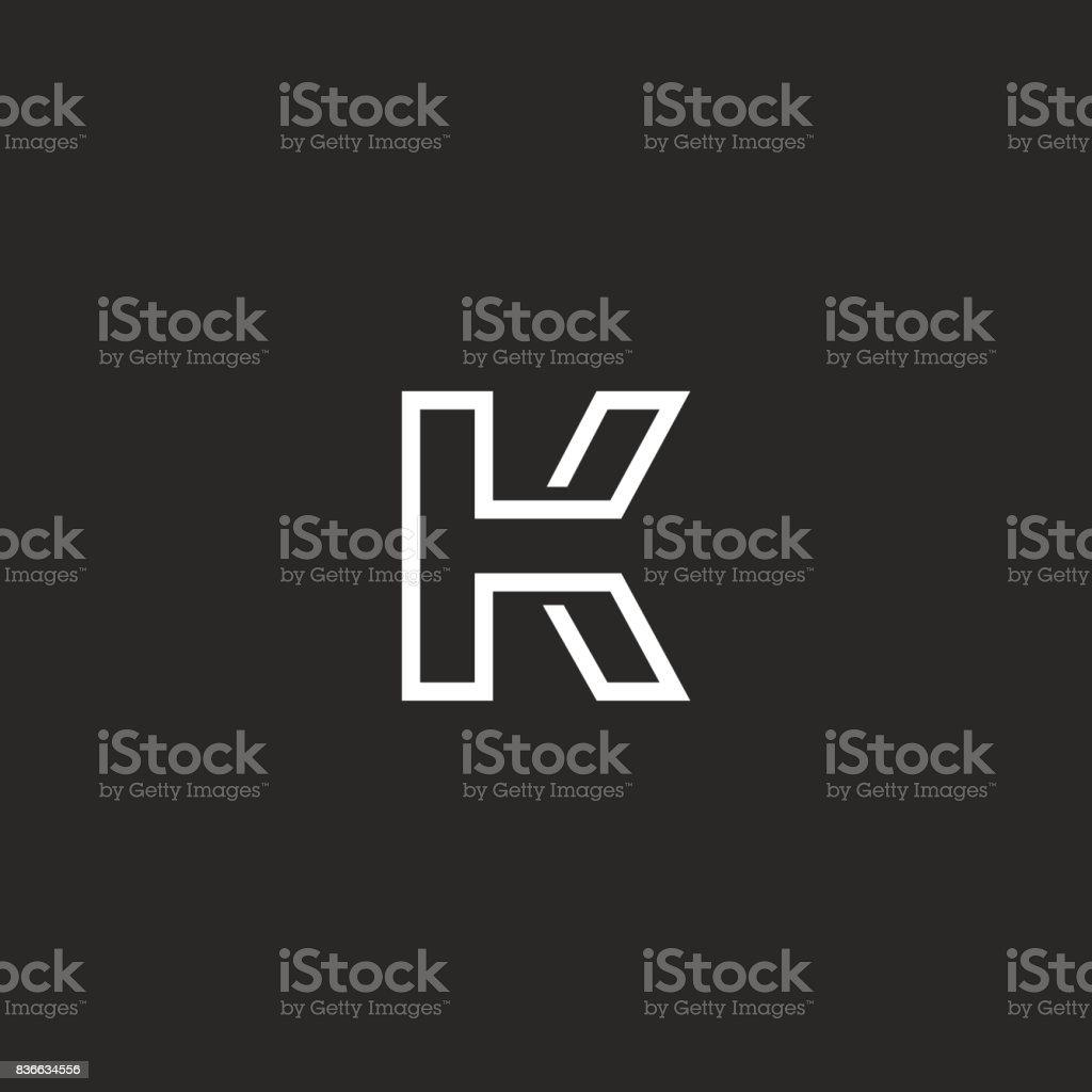 Letter K monogram, thin monoline style minimal mark, linear typography design element emblem mockup vector art illustration