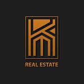Letter K Real Estate logo design template