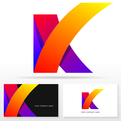 Letter K Sign Icon Design Template Business Card Templates — стоковая векторная графика и другие изображения на тему Абстрактный