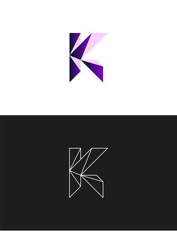 Letter K sign icon design template