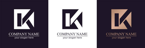 Letter K V logo or monogram. blank for business card. For your business. Vector sign. Letter K V logo or monogram. blank for business card. For your business. Vector sign. k logo illustrations stock illustrations