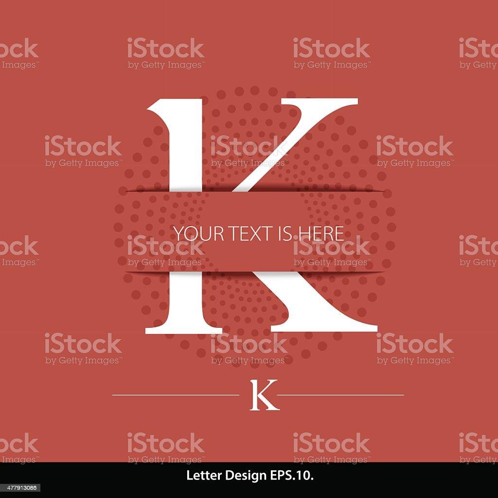 Letter K vector alphabet inserted into the paper cut. vector art illustration