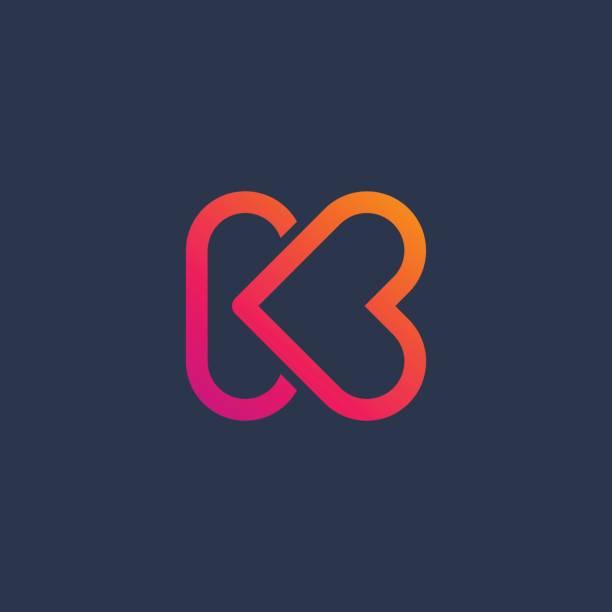 Letter K with heart icon Letter K with heart icon letter k stock illustrations