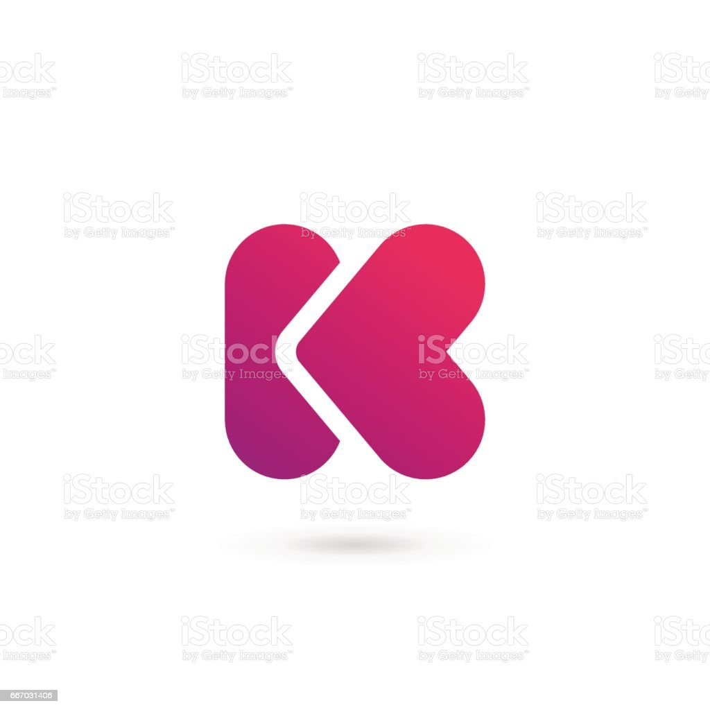 Letter K with heart icon vector art illustration