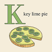 Letter K with key lime pie. Illustrated English alphabet with sweets.